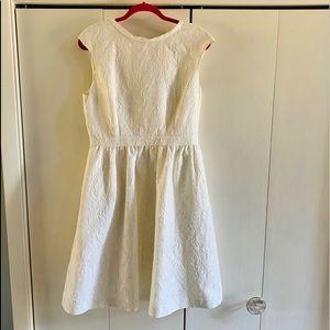 Cynthia Steffe White Metallic Jacquard Dress S 12
